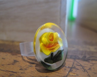 Sunny Yellow Rose Ring