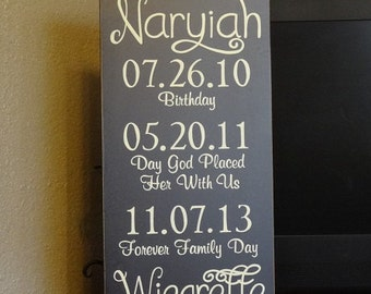 "Adoption Sign with Important Dates, Baby Sign, Child Sign, Adoption Day Sign - 12"" x 24"" SignsbyDenise"