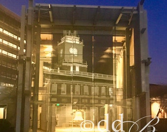 The Liberty Bell reflecting Independence Hall in Old City, Philadelphia