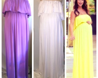 Strapless ruffled top maternity maxi dress/ maternity dress/ maternity photoshoot / baby shower Dress/Jennifer dress