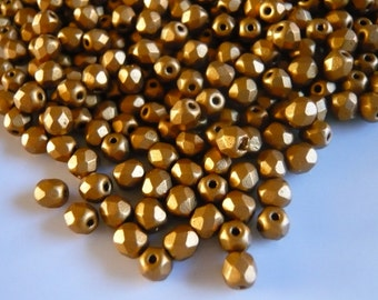 Fire polished Beads 4 mm Brass Gold x 100