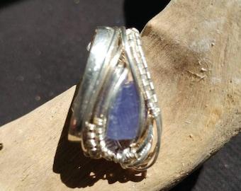Silver and gold wire wrapped tanzanite pendant
