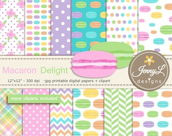 Macaron Digital Papers and cliparts, Pastel Cookie, Sweets, French Macarons for Digital Scrapbooking, Birthday invitations, Planners