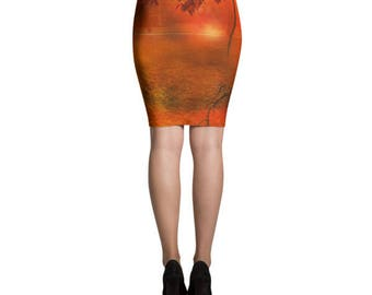 Autumn pencil skirt, Fall skirt