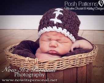 Crochet PATTERN for Football Hat - Crochet Hat Pattern - Crochet Pattern Baby - Crochet Patterns for Boys and Men - 6 Sizes - PDF 162