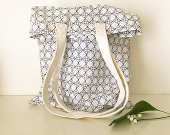 Tote-bag, shopping bag black and white chart
