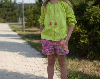 Girls peasant blouse, tunic blouse, cotton peasant blouse, long sleeve blouse, girls tunic, girls blouse