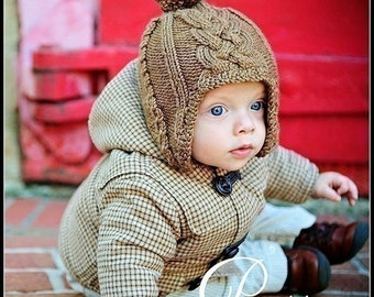 make your own Master Charles Cabled Ear Flap Cap (DIGITAL KNITTING PATTERN) baby toddler child adult