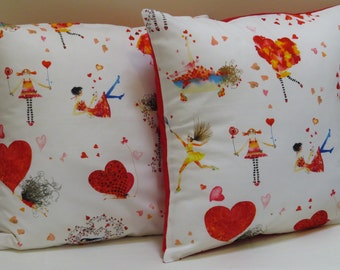 Cushion Cover, Romance Theme Cushion, Decorative Pillow Cover, Bedroom Room Decor, Red Hearts