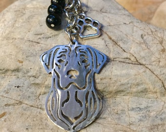 Labrador gemstone key chain/ bag charm
