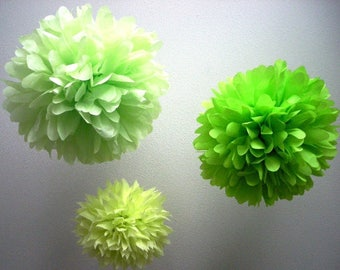 LIME POP 3 pompoms / green birthday party decorations baby bridal shower caterpillar woodland 80's theme bar mitzvah luau mexican fiesta Eid