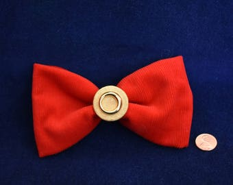 Red Corduroy Bow With Gold