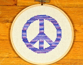 easy cross stitch pattern peace sign, PDF * instant download*