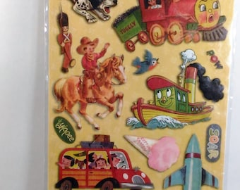 A Sheet Of 21 Piece Vintage Acid  And Lignin Free Embossed Stickers By Kazoo Kids/Made In China/Sealed Pkg.  L