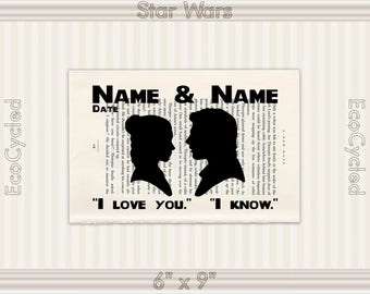 Princess Leia Han Solo Star Wars Silhouette I Love You I Know 4 customized Vintage Dictionary Art Print Wedding Anniversary literary gifts