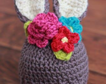 Bunny Hat - Easter Hat - Spring Hat - Rabbit Hat - Floral Crown - Baby Bunny Hat - Floral Crown Hat - Baby Floral - Baby Shower Gift