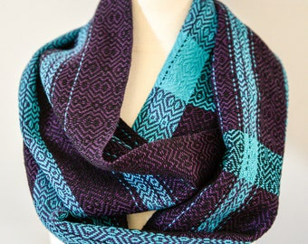 Handwoven Cotton Loop Scarf Plum, Turquoise + Black - Shimmer