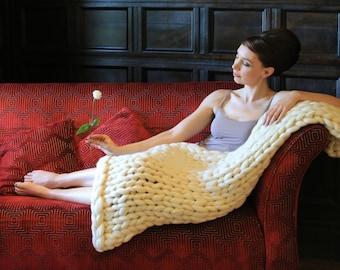 Blanket knitting kit. Giant afghan. 40mm Knitting needles. Super Chunky DIY Throw knit, Learn to knit, extreme pattern, crochet K034