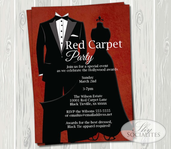 Black tie invitation red carpet party hollywood party red black tie invitation red carpet party hollywood party red carpet formal suit tie black dress prom awards ceremony print at home stopboris Gallery