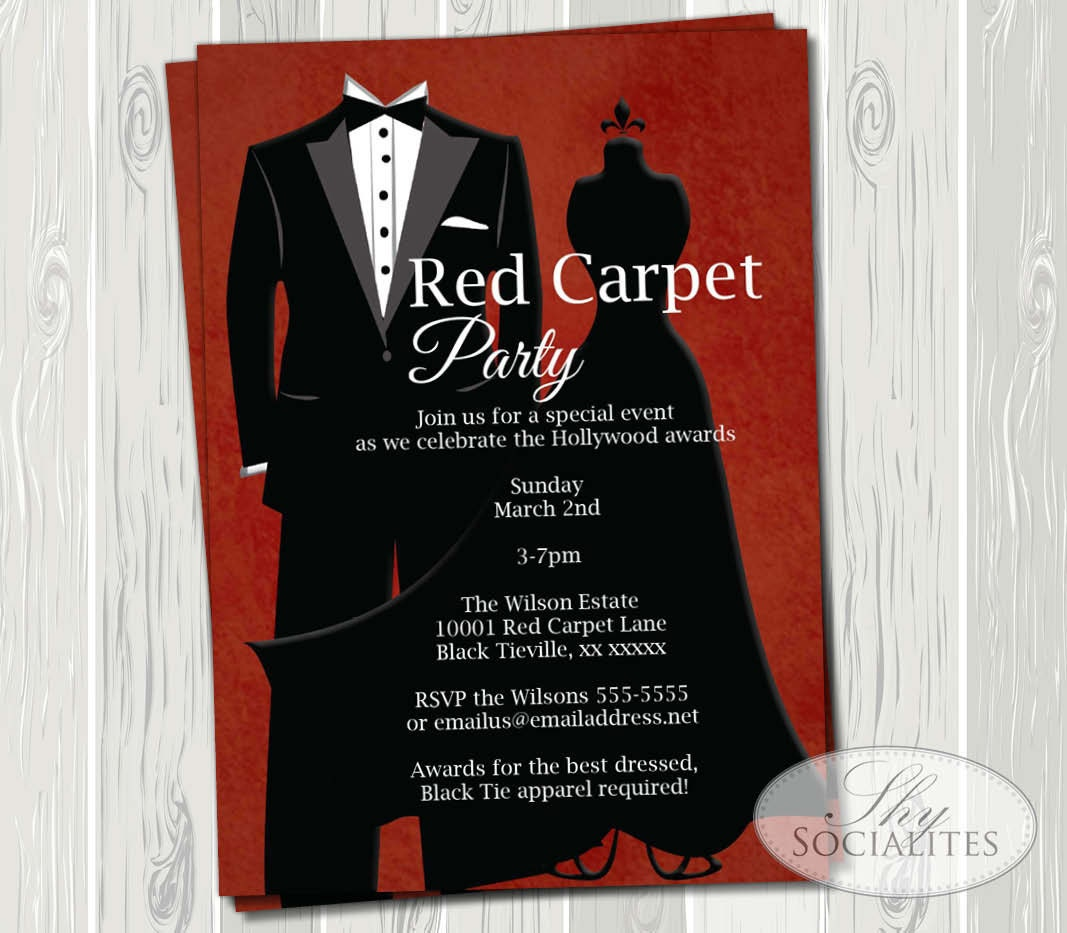 Black Tie Invitation Red Carpet Party Hollywood Party Red