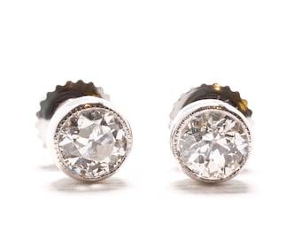Diamond Earrings | Vintage Diamonds | Old European Cut | Bezel Set | Millegrain Detail | White Gold |Bridal Jewelry