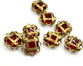6 Pieces Siam Ruby Caged Stones, Raw Brass Wiring, 13mm Diameter