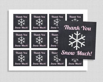 Thank You Snow Much Favor Tags, Chalkboard Pink Glitter Snowflake Shower Party Favor Tags, INSTANT PRINTABLE