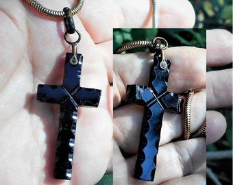"""Victorian Black Jet Glass Mourning Cross, Deeply Carved, AS IS Condition 100 + Years Old  on Gold Tone Snake 18"""" Chain.  Only 49.90"""