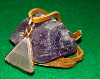 Selenite Triangle and 925 Copper Pendant with Suede Cord