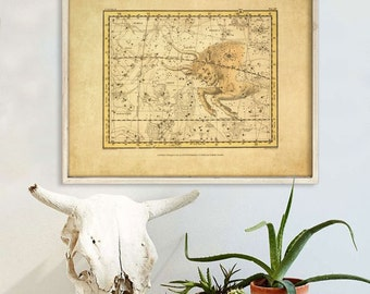 """Taurus sign print 1822 Vintage Taurus constellation zodiac star map, 4 sizes up to 36x30"""" (90x75cm) Astrological - Limited Edition of 100"""