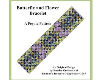 Peyote Bracelet Beading Pattern, 3 Drop Odd Count Peyote Stitch / Butterfly and Flower / Bracelet Beadweaving Pattern. Instant Download PDF