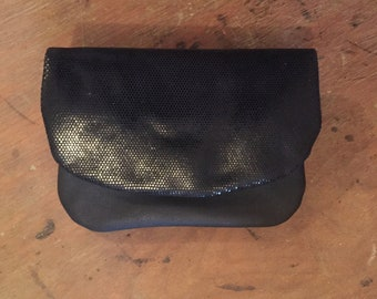 Shiny Black Leather Clutch