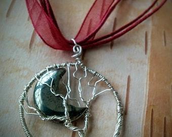 Wire Tree Pendant. Hematite Moon.