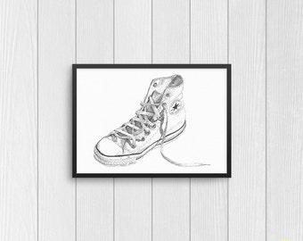 Converse Chuck Taylor Classic Art Print from Original Ink Drawing