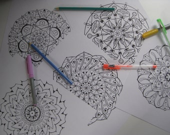 Instant Download Mandala Coloring Pages - 5 Printable Designs  - Set 2