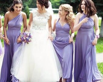 Lavender Bridesmaid dress, lavender convertible dress, lavender infinity dress, lavender multiway dress, lavender maxi dress, lilac infinity
