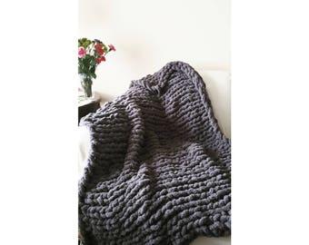 Cozy chunky knit blanket throw