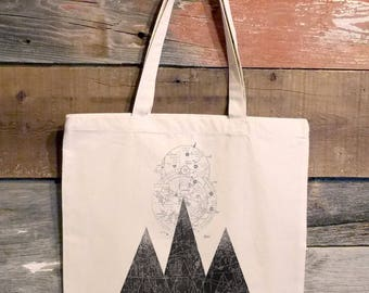 Tote Bag - Mountains & Airplane Chart Collage - Cotton Canvas Tote Bag