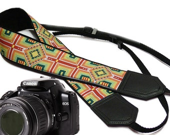 Ethnic Camera strap.  DSLR / SLR Camera Strap. Camera accessories by InTePro