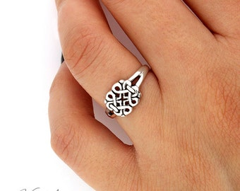Sterling Silver 925 Floral Celtic Knot Ring plain Band celtic jewelry,knot ring (R53)