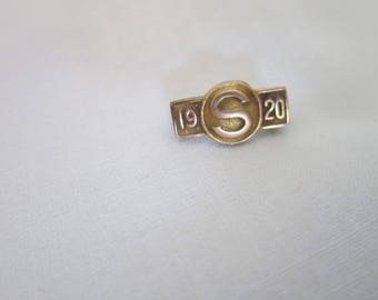 Antique S 1920 Gold Filled Bar Pinback