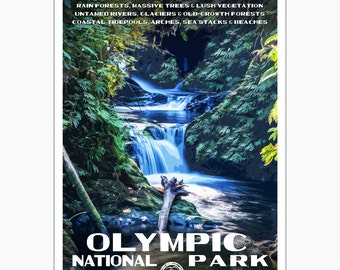 "Olympic National Park WPA-style poster. Color. 13"" x 19""  Original artwork, signed by the artist!"