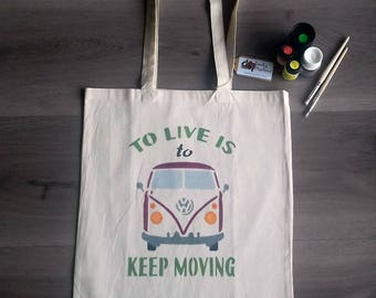 VW Campervan canvas tote bag, handpainted handcrafted bag, natural cotton bag colourfull design shopping bag, fashion, ideal gift.