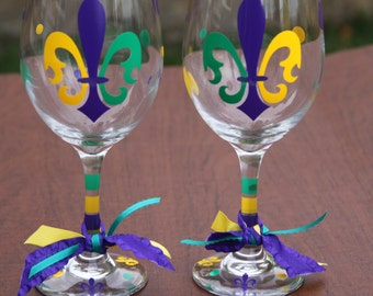 Mardi Gras Glasses, Fleur de Lis Glasses, NOLA Celebration, Mardi Gras Personalized Gifts, Choose the Mardi Gras Glasses