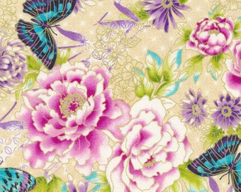 Floral Fabric, Butterfly Fabric:  Paintbrush Studio Floral Flights of Fancy 100% Cotton Fabric by the yard FQ216