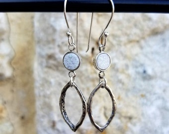 Marquise Sterling Silver Dangle Earrings With Glittering Round White Druzy Accent Stones