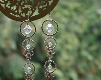 Long Bridal earrings with Swarovski crystals, sterling silver.