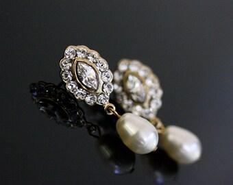 Gold Bridal Earrings Wedding Jewelry Pearl Drop Earrings Small wedding Earrings Crystal Pearl Earrings MAE DROP