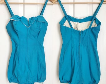 1950s / 50s Vintage Pin Up Sky Blue Swimsuit / Bathing Suit / Extra Small XS / Small