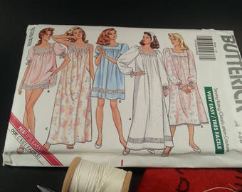 Misses Nightgown and shorts Pattern Vintage Butterick 5854 Ladies Nightwear Bridal Shower Birthday Gift